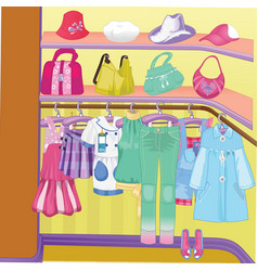 Wardrobe for cloths closet with clothes bags vector