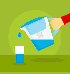 water filter jug concept background flat style vector image