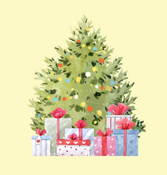 watercolor fir tree christmas vector image