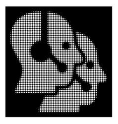 White halftone call center operators icon vector