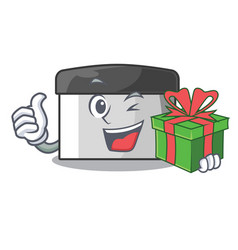 With gift pastry scraper on wooden mascot table vector
