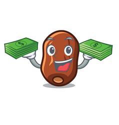 With money dates fruit mascot cartoon vector