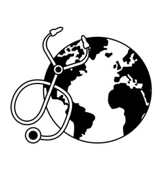 world map earth globe cartoon in black and white vector image