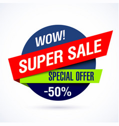 Wow super sale banner special offer vector