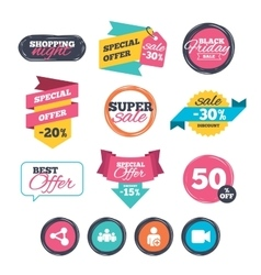 Group of people and share icons Video camera vector image