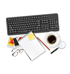 keyboard with office supplies and glasses vector image