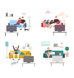 set of a couple watches tv flat colorful vector image vector image