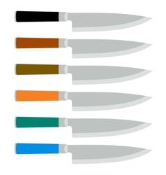 Color Set of Steel Kitchen Knives vector image
