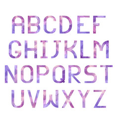 latin alphabet with triangular purple texture vector image