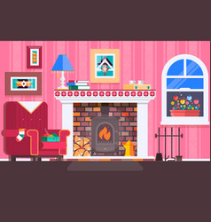 Room interior fireplace design with chair books vector