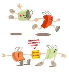 Set of shopping bag mascots vector image