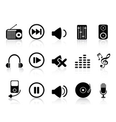 sound icons set vector image vector image