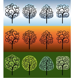 Swirly trees vector image vector image
