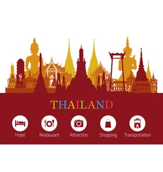 Thailand Landmark and Travel Icons vector image vector image