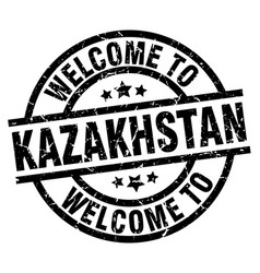 welcome to kazakhstan black stamp vector image vector image