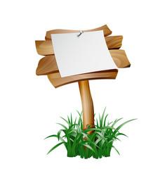 empty paper blank on wooden signboard vector image vector image