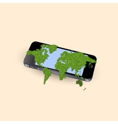 Mobile phone with stylized green world map vector image