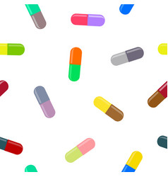 seamless pattern with drugs pills and capsules vector image vector image