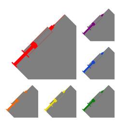 syringe sign set of red orange vector image