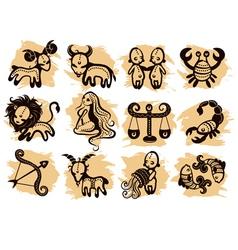 Ethnic horoscope icons vector image