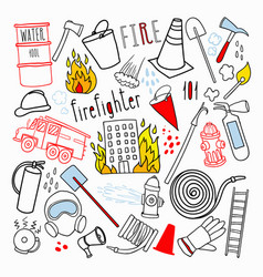 firefighting hand drawn doodle firefighter vector image vector image
