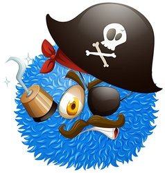 Pirate face on fluffy ball vector