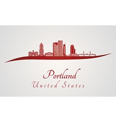 Portland skyline in red vector image vector image