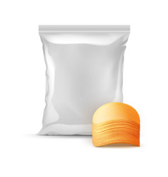sealed foil plastic bag with stack of potato chips vector image