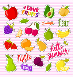 set of cute fruits in the form of a retro patches vector image