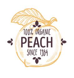 100 percent organic peach label with whole ripe vector