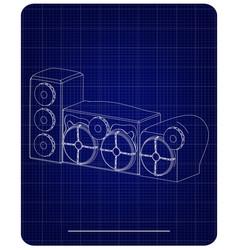 3d model of speaker system on a blue vector image