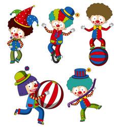 a set of circus clown vector image