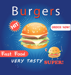 Advertising poster with a delicious burger vector