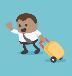 African businessman prepare a bag for travel eps10 vector