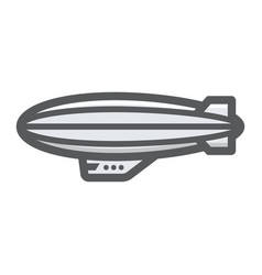 airship blimp filled outline icon transport a vector image