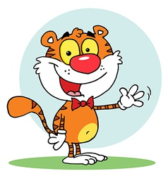 Animal Tiger Waving A Greeting vector image