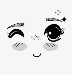 Anime cute expression woman face vector