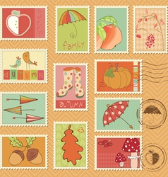 Autumn stamps vector