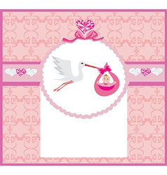 Baby girl Card - A stork delivering a cute baby vector image