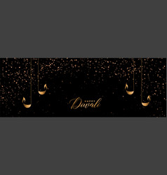 black and gold happy diwali sparkles banner design vector image