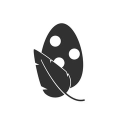 Black icon on white background egg and leaf vector