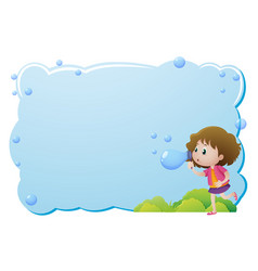 Border template with girl blowing bubbles vector