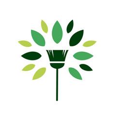 Broom tree leaf clean logo icon vector