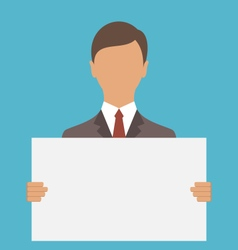 business man holding big blank paper vector image