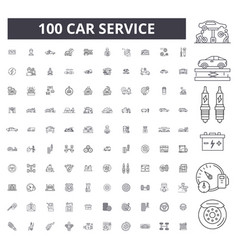 car service editable line icons 100 set vector image