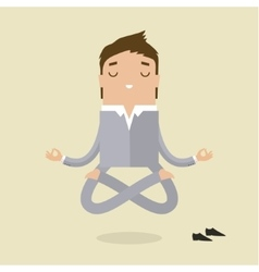 Cartoon business man is doing yoga vector