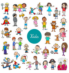 cartoon children characters large set vector image
