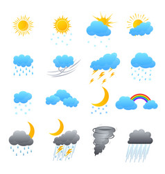 cartoon weather color icons set vector image