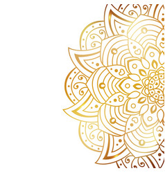 Clean white cover with gold beautiful flower vector