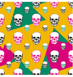 colorful skulls print skull seamless pattern hand vector image